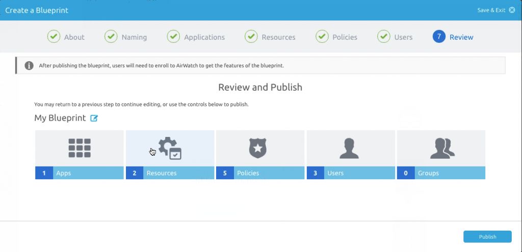 The AirWatch Express Blueprint wizard helps you create a new use case.