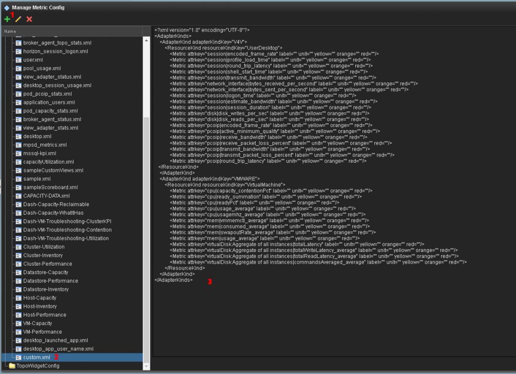 Add a custom XML to vROps