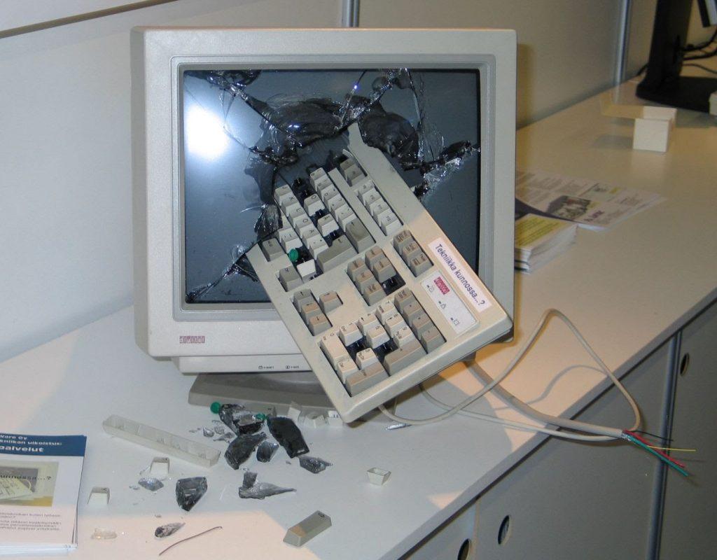 Smashed computer