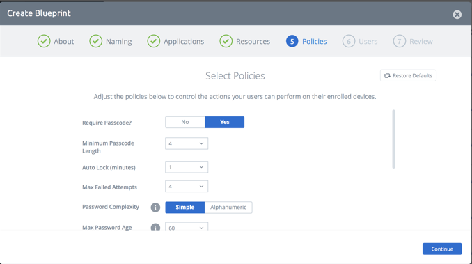 Configure passcode and restrictions in one simple interface across multiple platforms simultaneously.