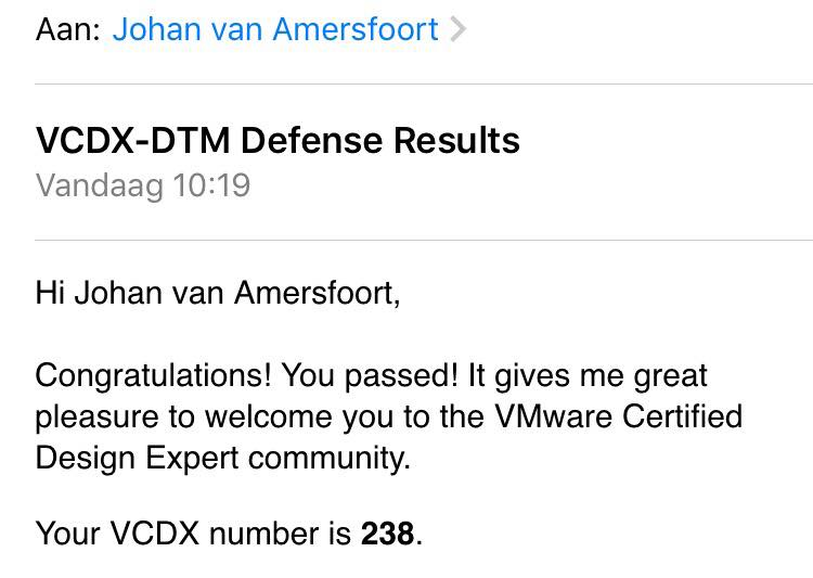 VCDX result